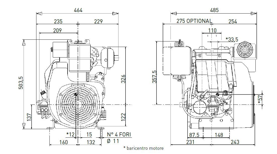 Lombardini engine 25LD 425/2 Dimensions