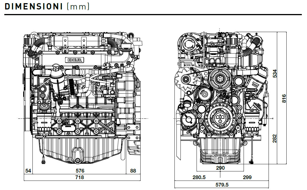 Kohler engine KDI 3404 TCR-SCR Dimensions