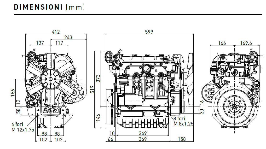 Lombardini engine LDW 1404 Dimensions