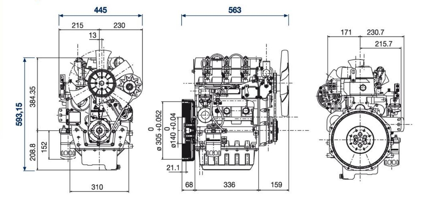 Lombardini engine LDW 1003 Dimensions