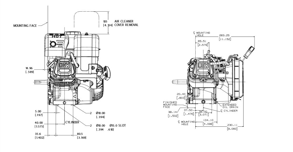 Kohler engine SH265 Dimensions